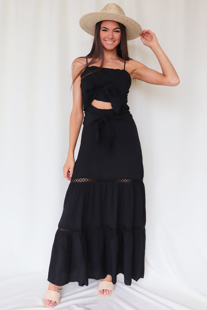 YESTERDAY LOVE BLACK MAXI DRESS