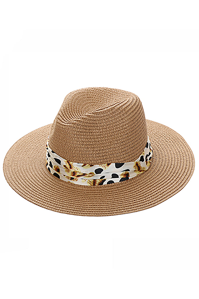 KHAKI PRINTED BAND STRAW HAT