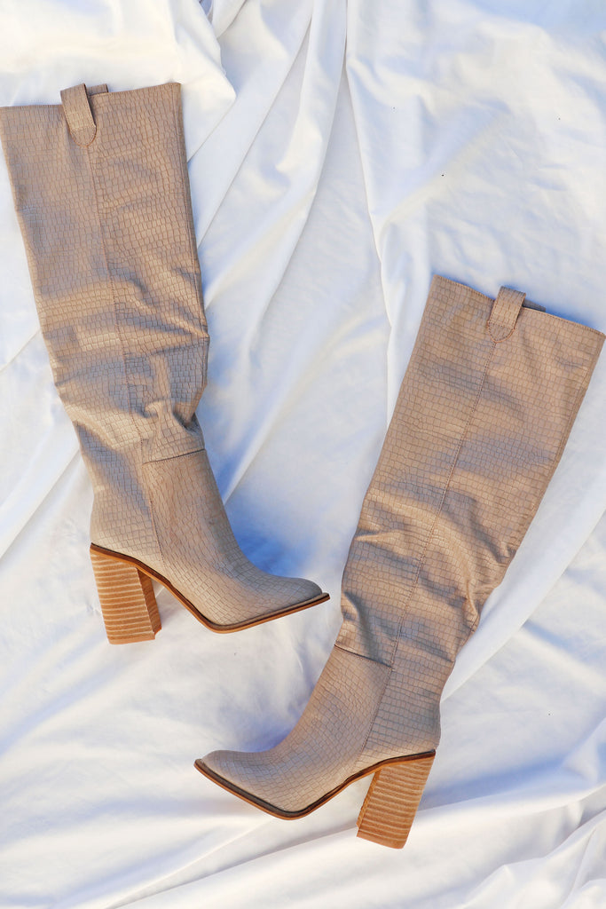 SERENITY TALL TAUPE BOOTS | KKE/MIRACLE MILES Blu Spero online shopping