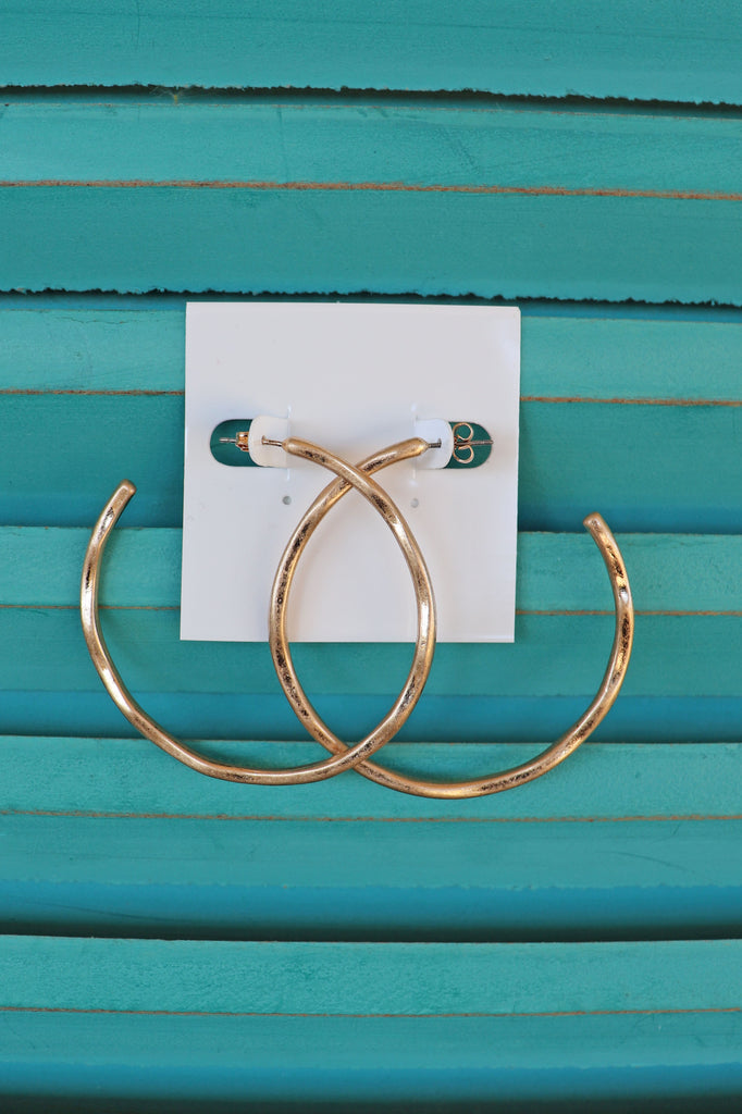HAMMERED OPEN HOOPS EARRING | GOLDEN STELLA Blu Spero online shopping