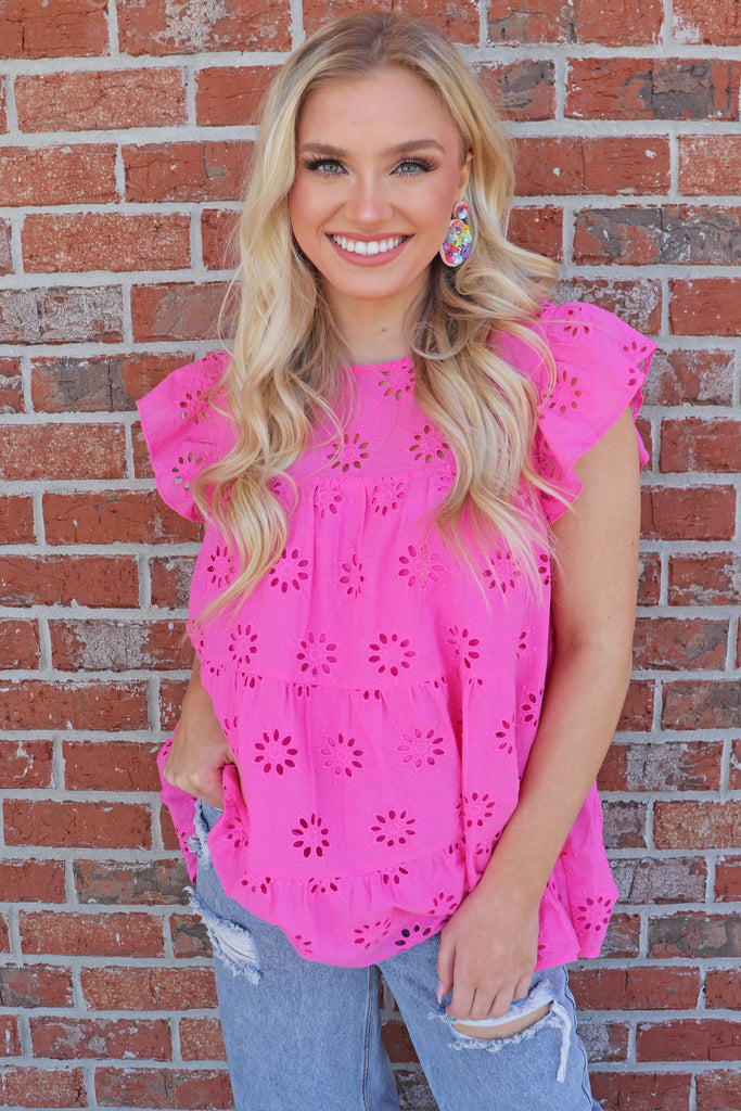 PINK BLOSSOMS EYELET TOP