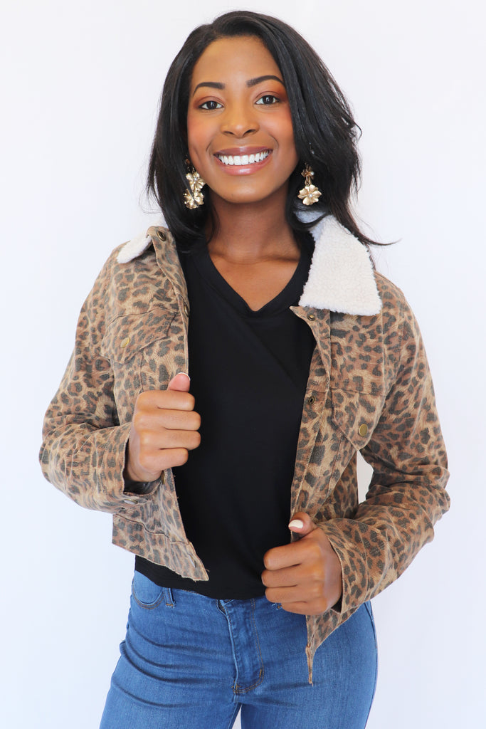 WOMAN LIKE ME LEOPARD PRINT JACKET | Olivaceous Blu Spero online shopping