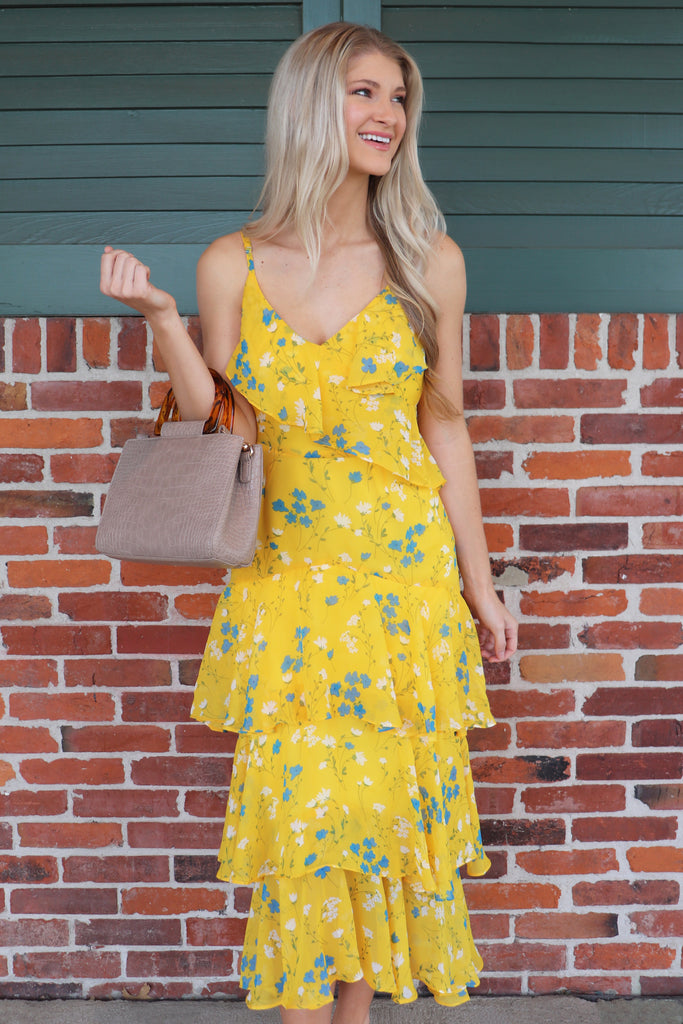 FOUND MY HEART FLORAL RUFFLED MAXI DRESS