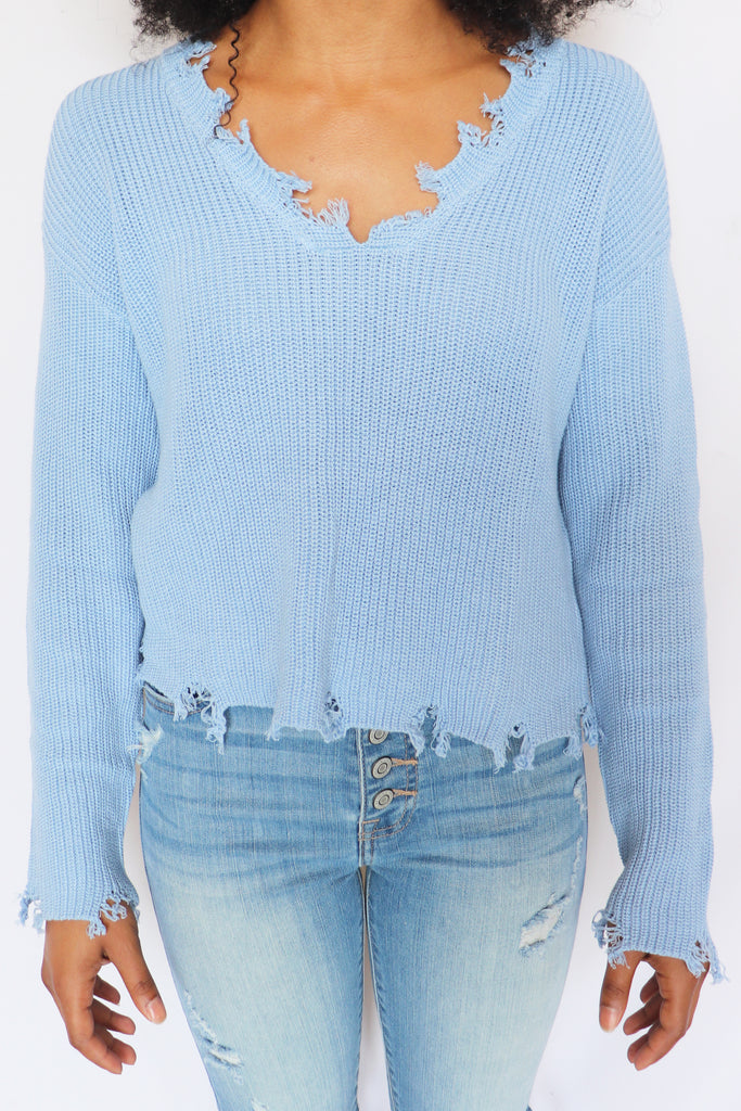 AIN'T IT FUN DISTRESSED PULLOVER | LE LIS Blu Spero online shopping