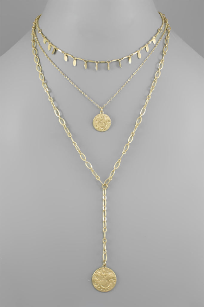 CONTRASTING WORN GOLD TIERED NECKLACE | GOLDEN STELLA Blu Spero online shopping