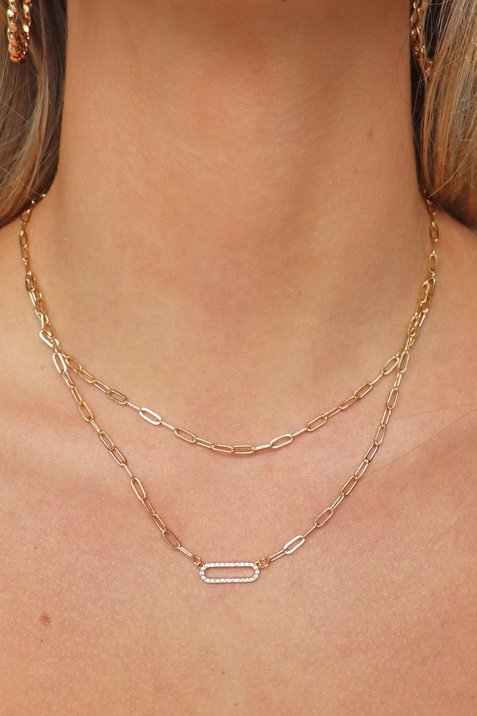 GOLD/CLEAR CHAIN LAYERED NECKLACE