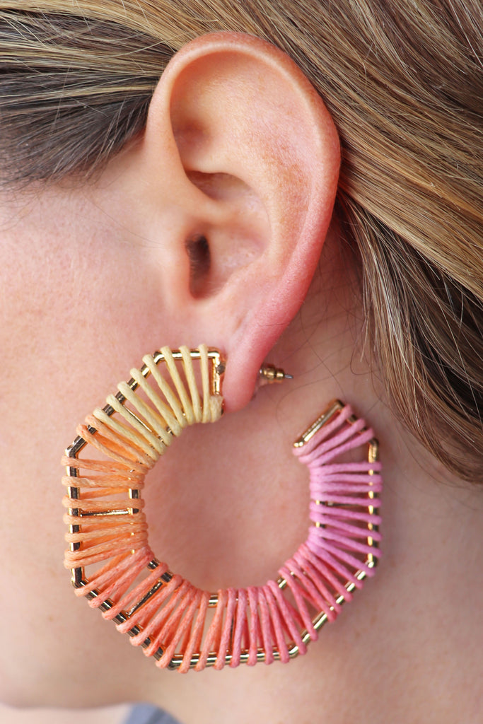 OCTAGON WRAPPED HOOP EARRINGS