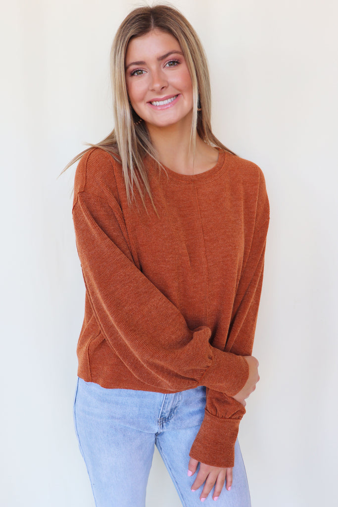 KNOW YOURSELF LONG SLEEVE MELON SWEATER