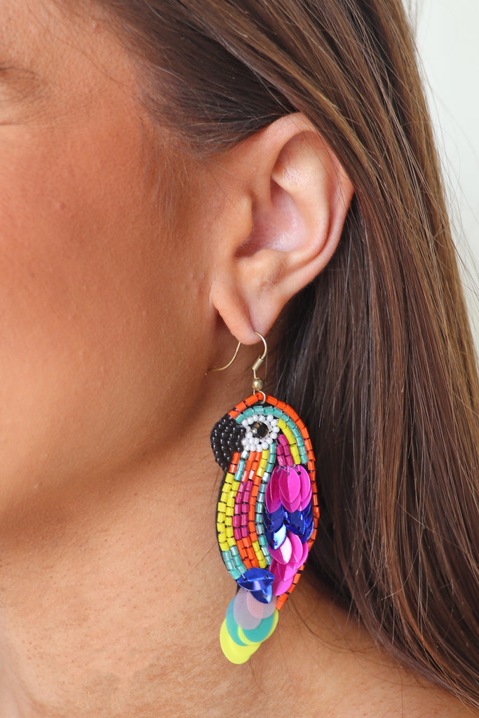 BEADED AND SEQUINS PARROT EARRINGS