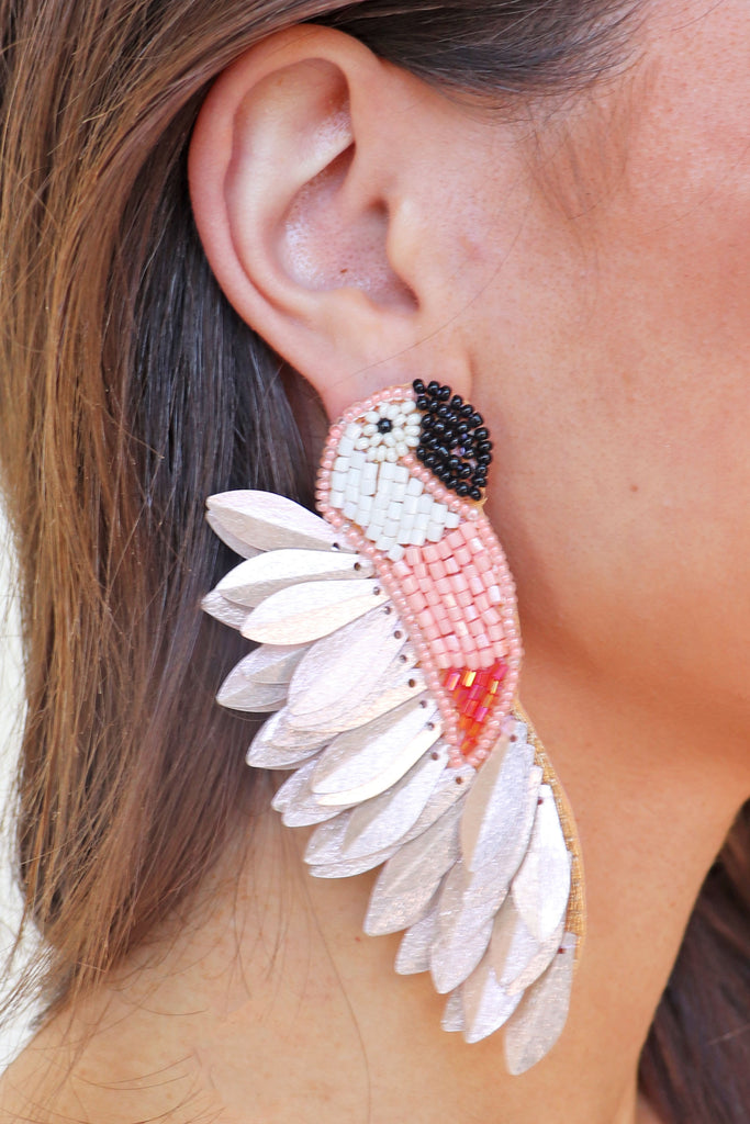PINK SPIKE FEATHERED BIRD EARRINGS