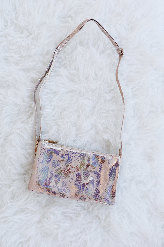 HOLOGRAM SNAKE PRINT CROSSBODY | CATHERINE HILL Blu Spero online shopping