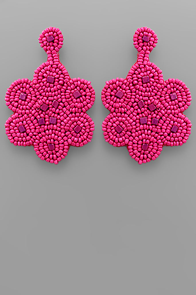 FLOWER SEED BEAD EARRINGS