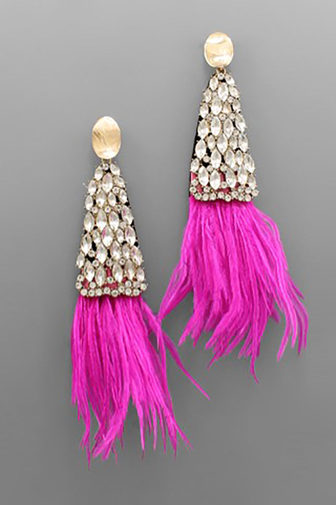 PINK CRYSTAL TRIANGLE AND FEATHER EARRINGS