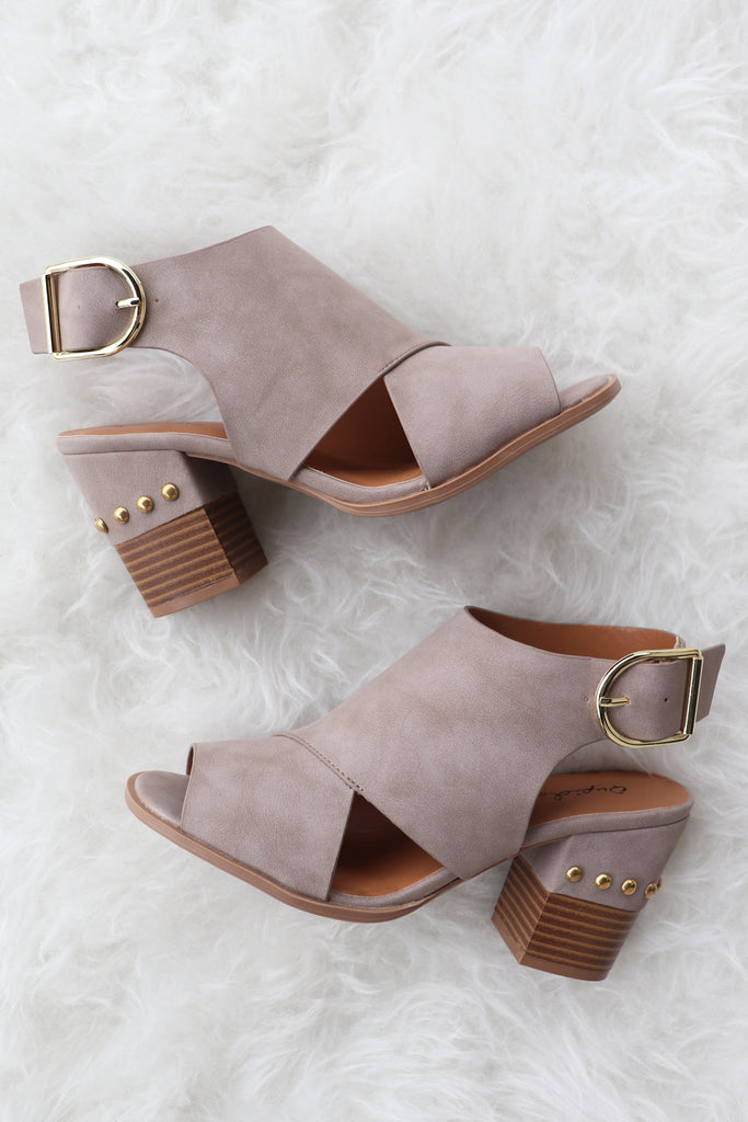 LAURA TAUPE OPEN TOE BOOTIE