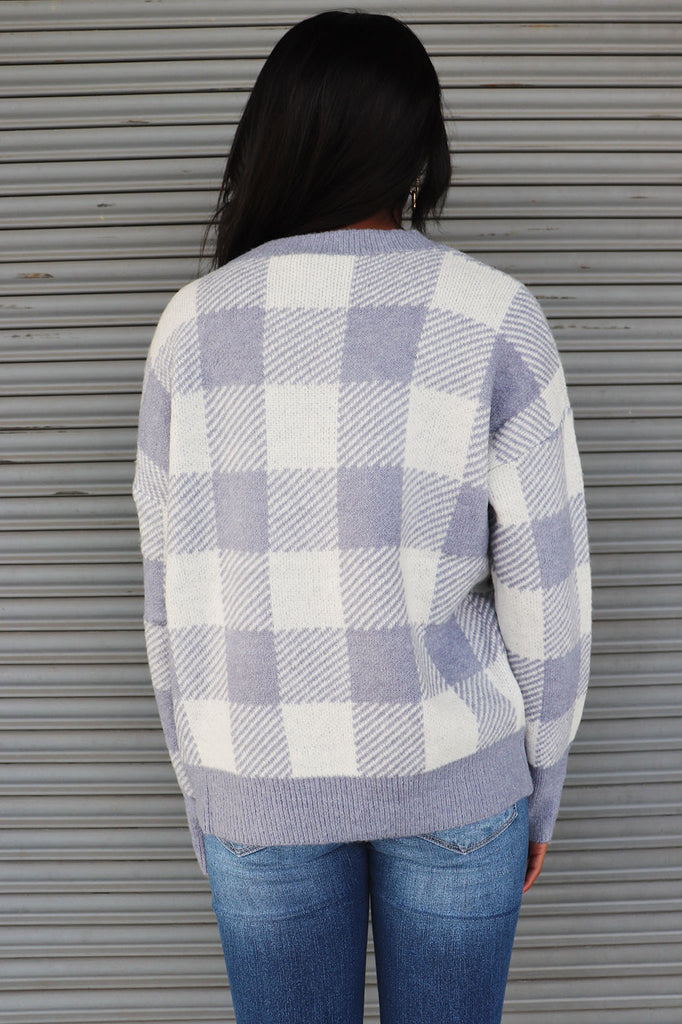 ALL IN PLAID BLUE SWEATER