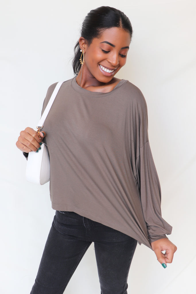 HASHTAG WALNUT LONG SLEEVE TOP