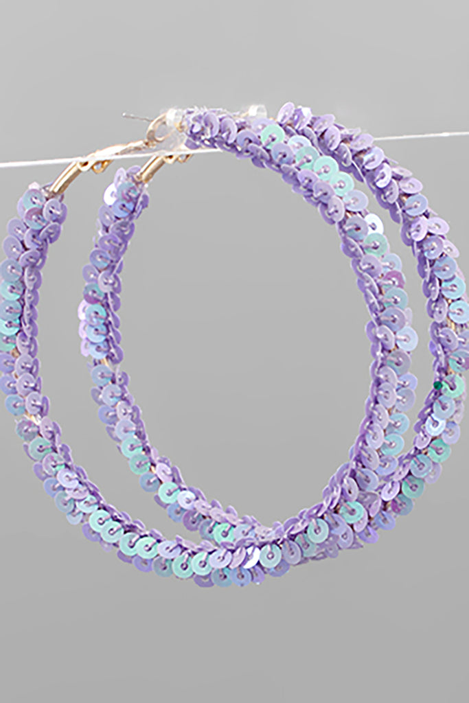 CIRCLE SEQUIN GLITTER HOOPS | GOLDEN STELLA Blu Spero online shopping