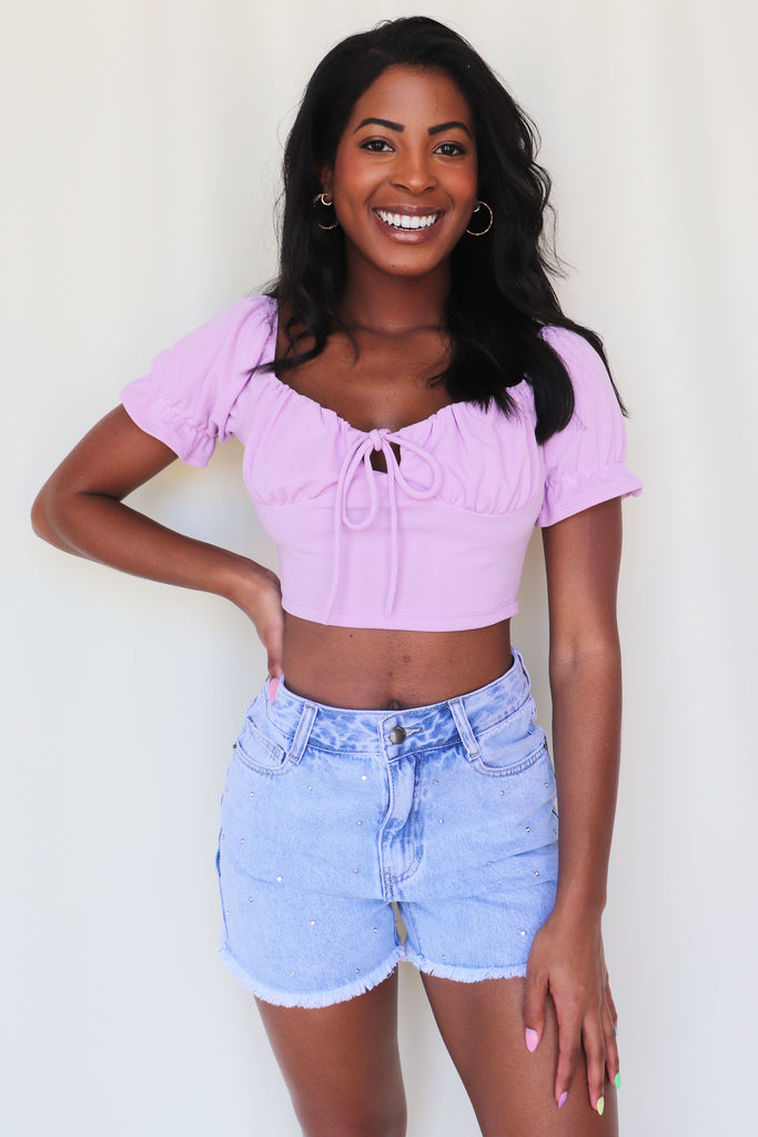 LET'S JOIN THEM LAVENDER CROP TOP