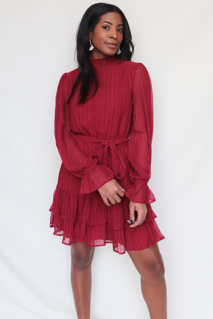 GIVE YOU MY HEART BURGUNDY DRESS | Flying Tomato Blu Spero online shopping