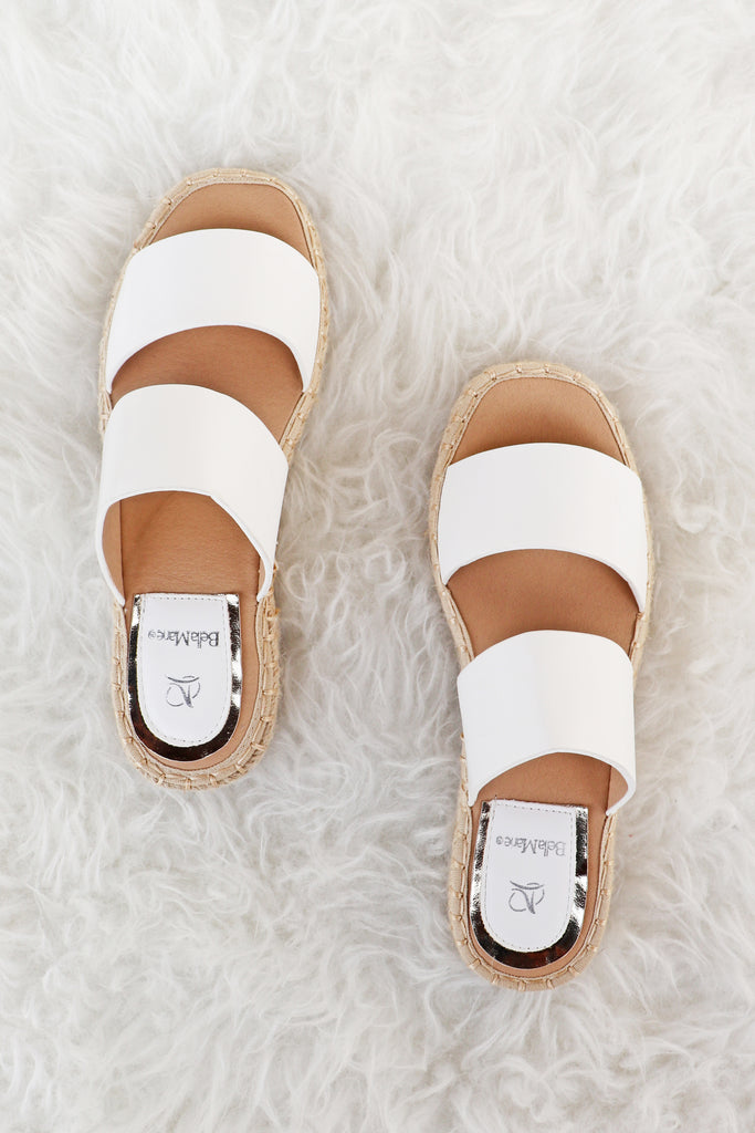 LYLA DOUBLE STRAP WHITE SANDALS | VERONA COLLECTION Blu Spero online shopping