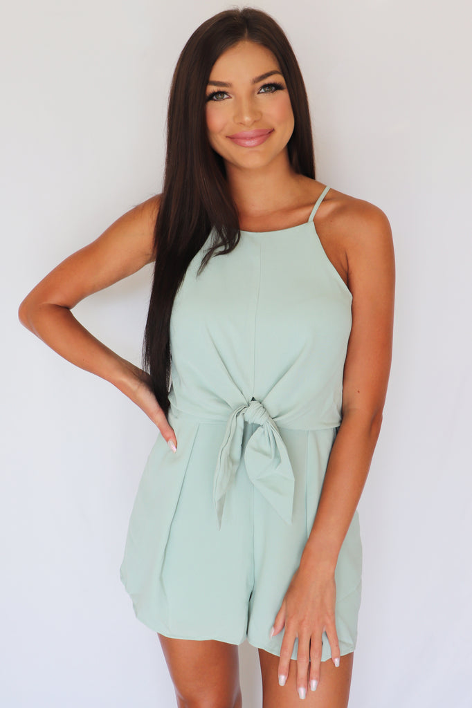 WAY OF BEAUTY SEA FOAM GREEN ROMPER | SHE + SKY Blu Spero online shopping