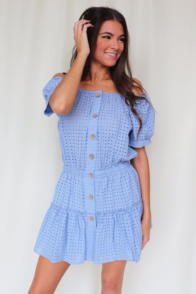 THE RIGHT TO LOVE EYELET DRESS