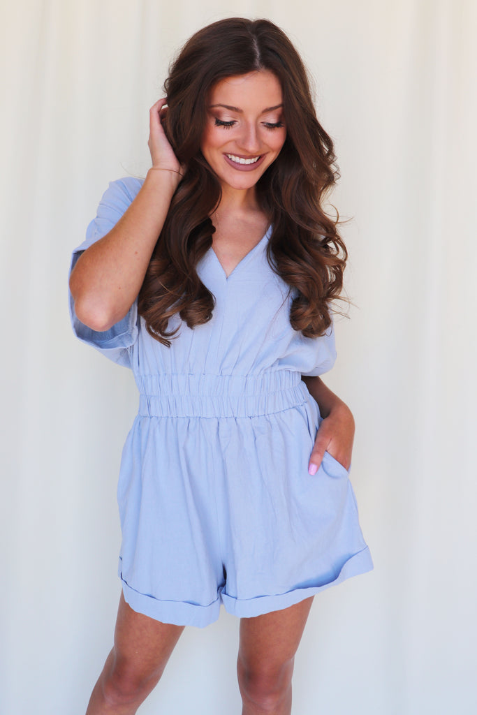 MEET ME IN THE MIDDLE BLUE ROMPER
