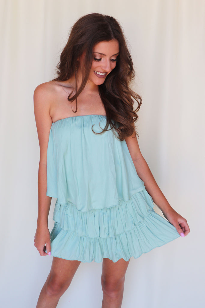 SWEET FASHION TUBE TOP RUFFLE DRESS - 2 COLORS