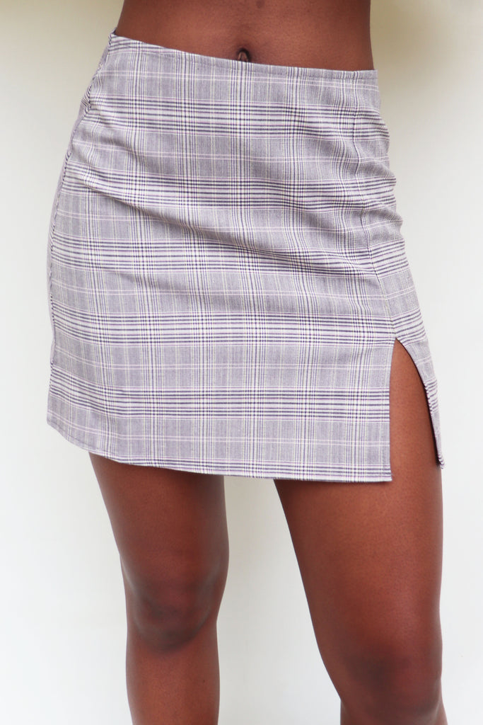 SEE YOU LATER PLAID SKIRT | Olivaceous Blu Spero online shopping