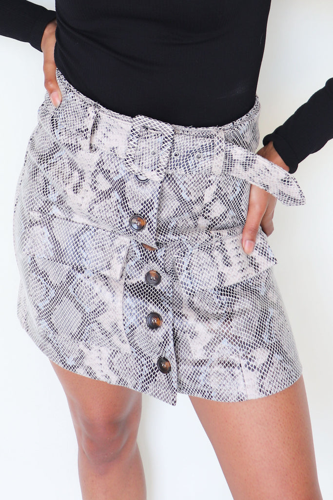 FAMILY MEMORIES SNAKE PRINT SKIRT | Olivaceous Blu Spero online shopping