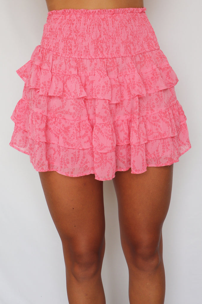 RUNNING IN CIRCLES PINK FLORAL SKIRT