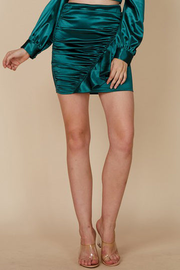 EMERALD CITY SATIN SKIRT | BLUE BLUSH Blu Spero online shopping