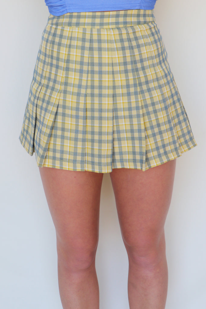 GET A CLUE PLAID SKORT - 2 COLORS