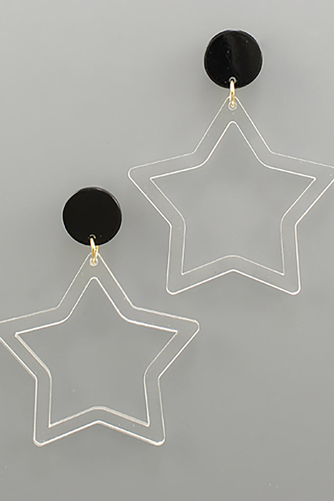 ACRYLIC STAR DANGLE EARRINGS