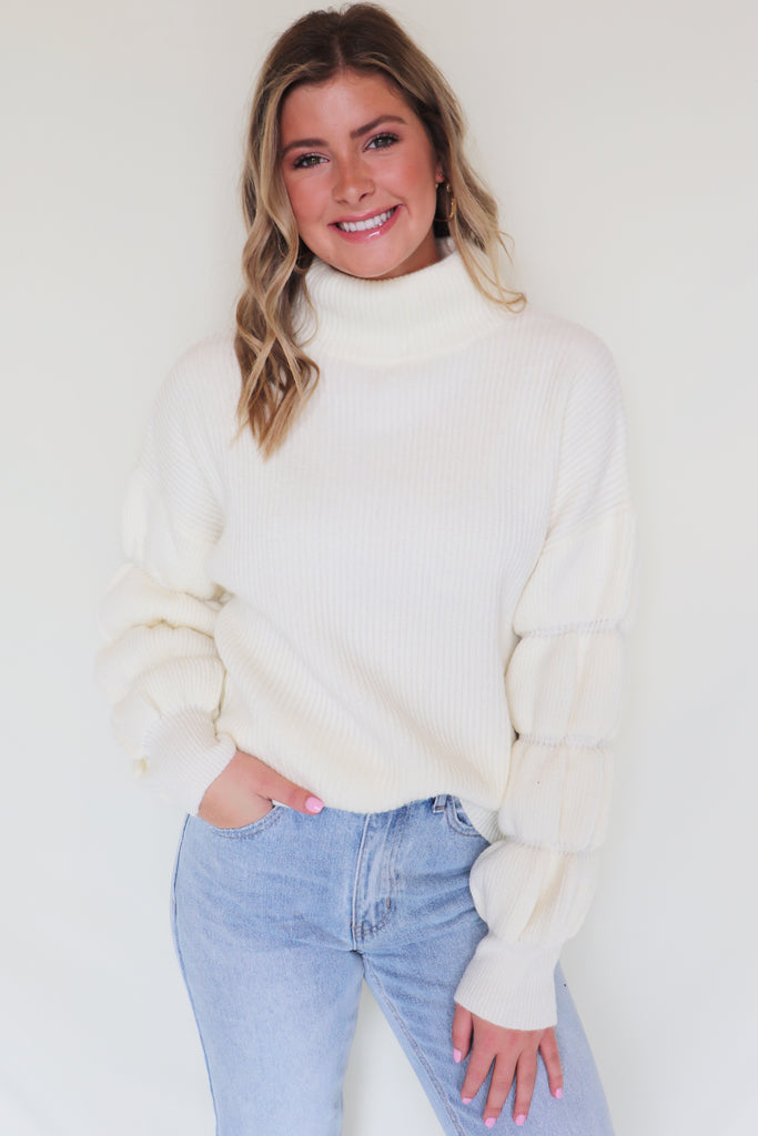 WINTER LODGE PUFF SLEEVE SWEATER | AARON & AMBER Blu Spero online shopping