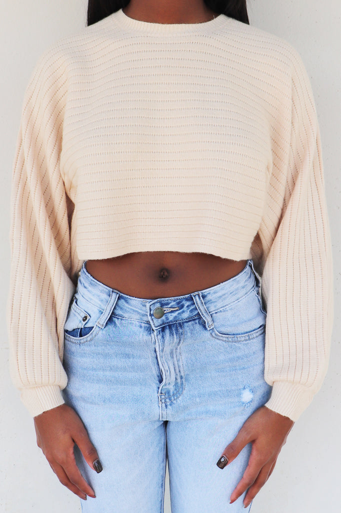 FALL ARRIVES CROPPED SWEATER - 2 COLORS | COTTON CANDY Blu Spero online shopping
