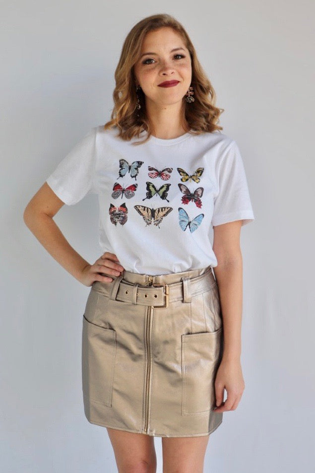 COLORFUL BUTTERFLIES GRAPHIC TEE
