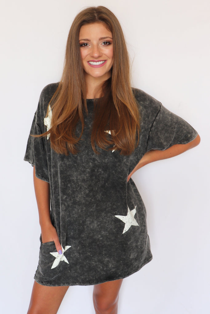 TWINKLE TWINKLE STAR T-SHIRT DRESS | PROMESA USA Blu Spero online shopping