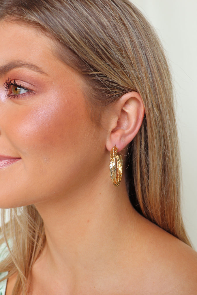 GOLD TEXTURED TWIST EARRINGS