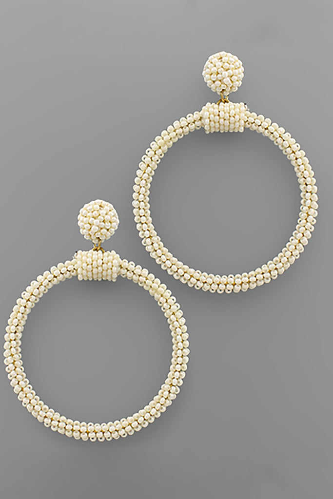 IVORY BEAD CIRCLE DANFLE EARRINGS