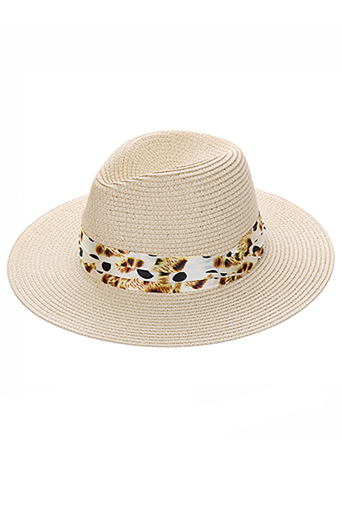 BEIGE PRINTED BAND STRAW FEDORA