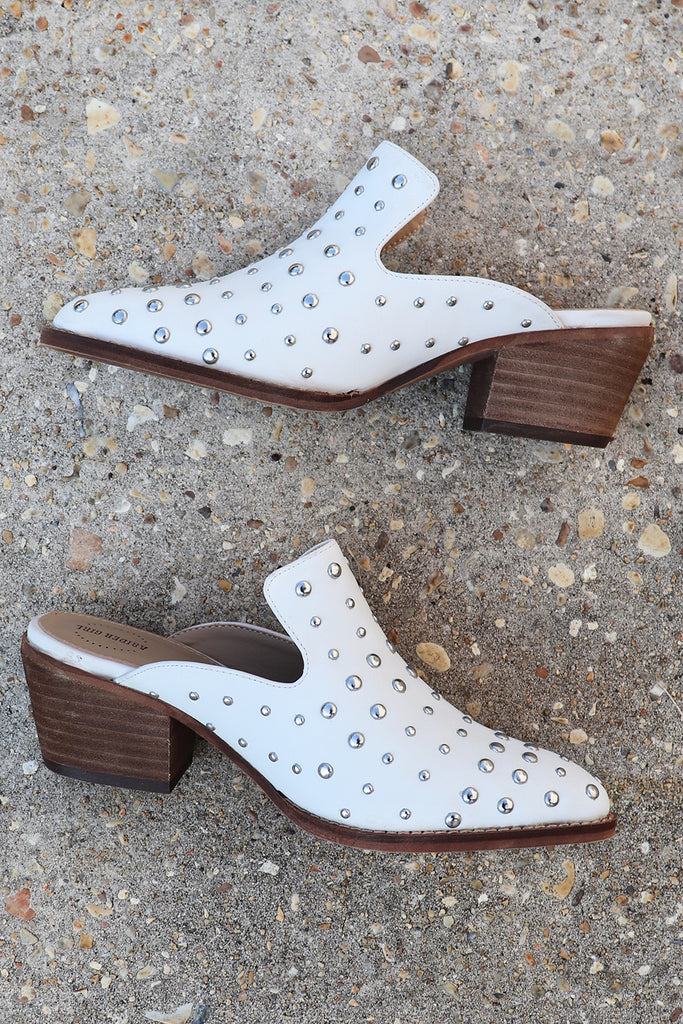 CATHERINE WHITE STUDDED MULE