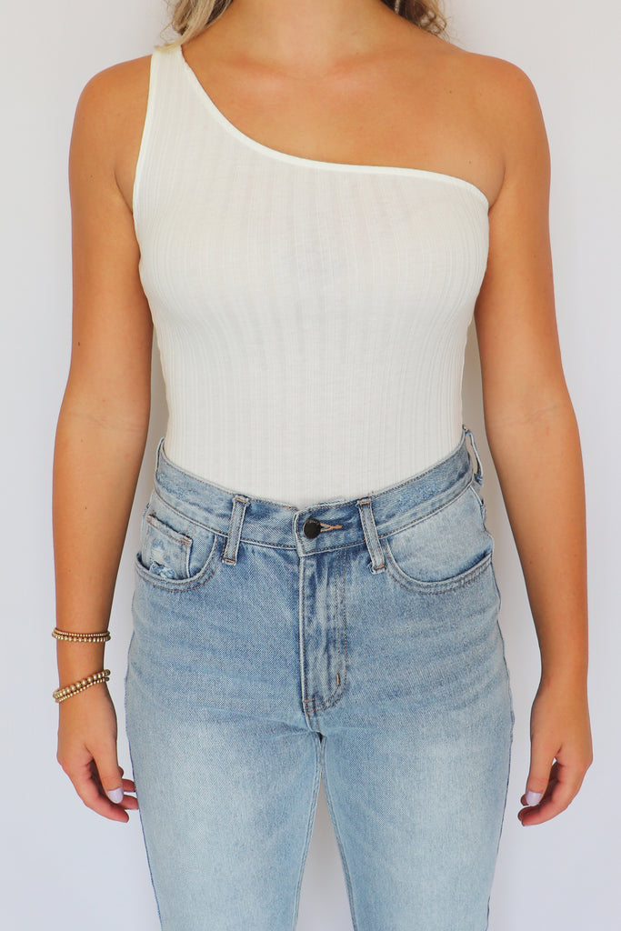 COOL DOWN ONE SHOULDER BODYSUIT | BETTER BE Blu Spero online shopping