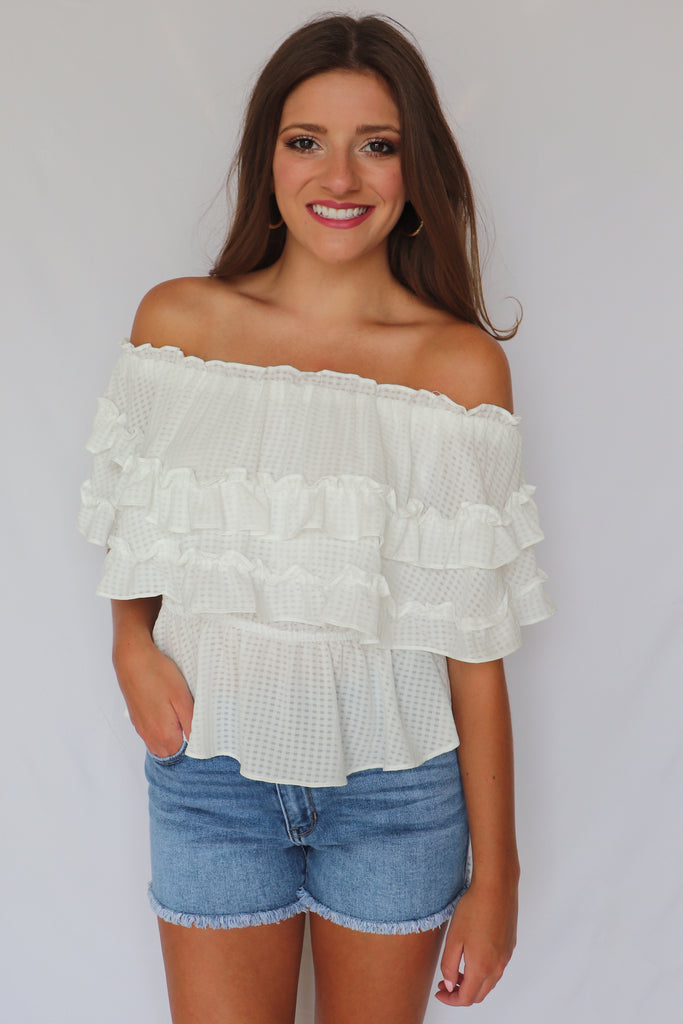 STAY FLAWLESS OFF THE SHOULDER TOP