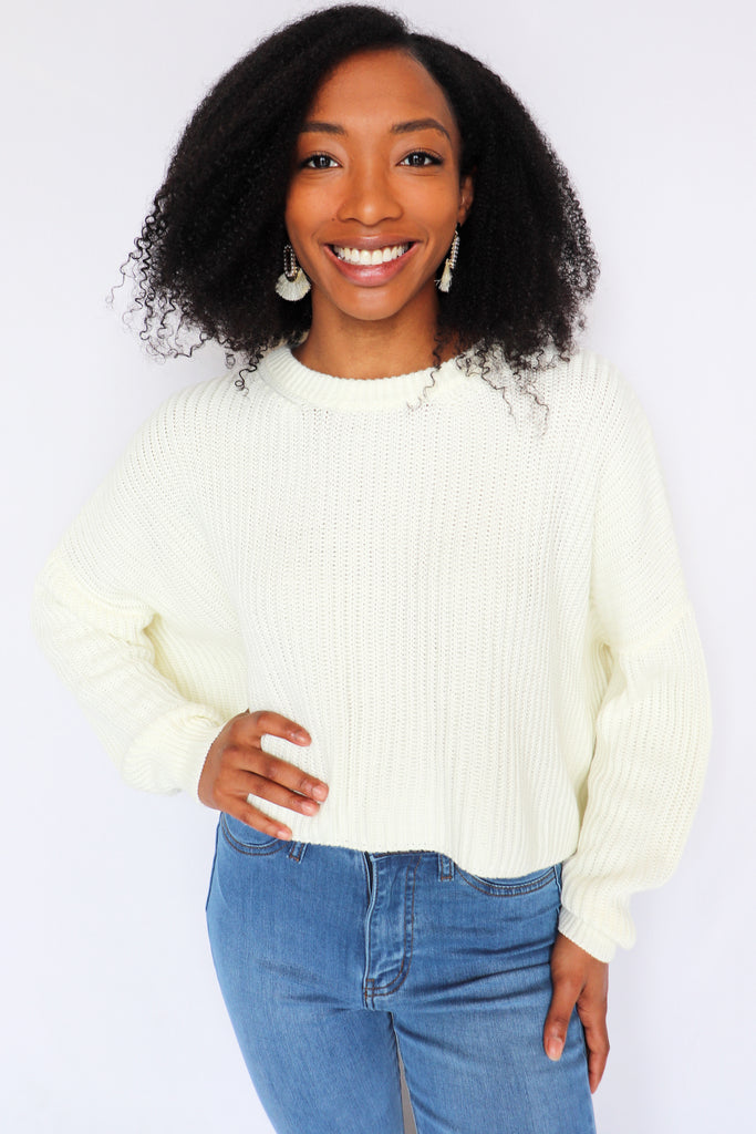 COMING UP COZY IVORY SWEATER | COTTON CANDY Blu Spero online shopping