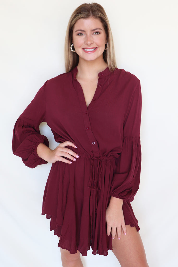 THE FINAL COUNT DOWN BURGUNDY DRESS | Olivaceous Blu Spero online shopping