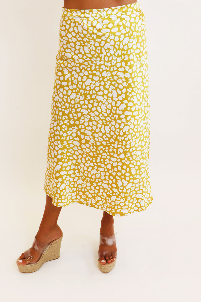 WILD SIDE LEOPARD LEMON MIDI SKIRT