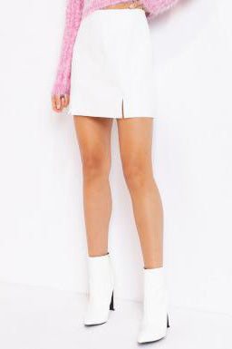 LET'S GO BEHIND FAUX LEATHER SKIRT | LE LIS Blu Spero online shopping