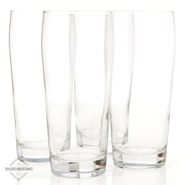 "Taylor'd Milestones ""Nucleated"" 16 oz Pint Glass ~ 4 Piece Beer Glass Gift Set"