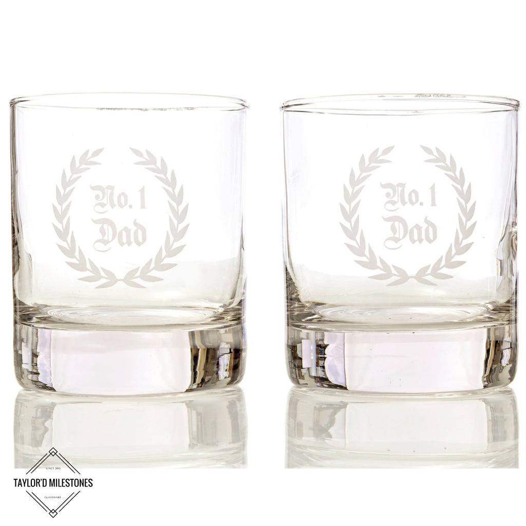 "Taylor'd Milestones ""No.1 Dad"" Whiskey / Scotch Glasses ~ 2 Piece Gift Set"